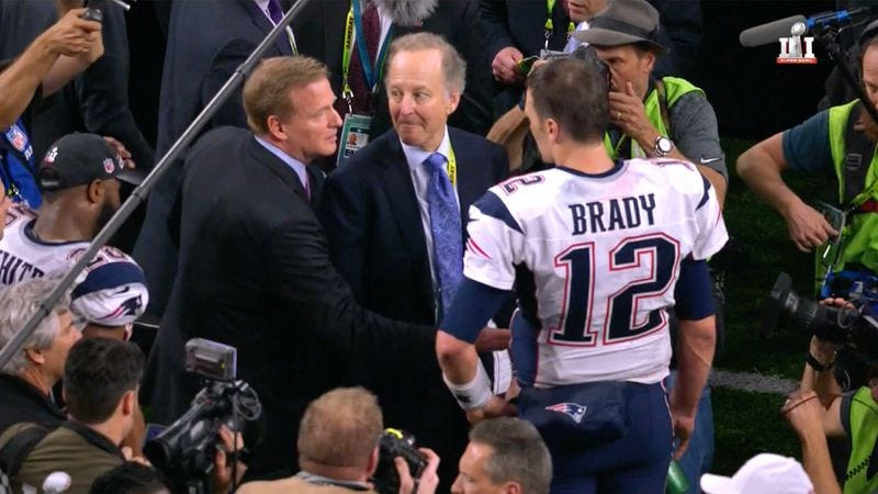 84fabadcc Roger Goodell reaches out to shake the hand of New England Patriots  quarterback Tom Brady after Super Bowl LI. (Screenshot  Fox)