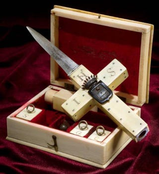 Illustration for article titled The 19th Century Vampire Killing Kit: When Dagger/Gun/Cross Combos Socially Acceptable