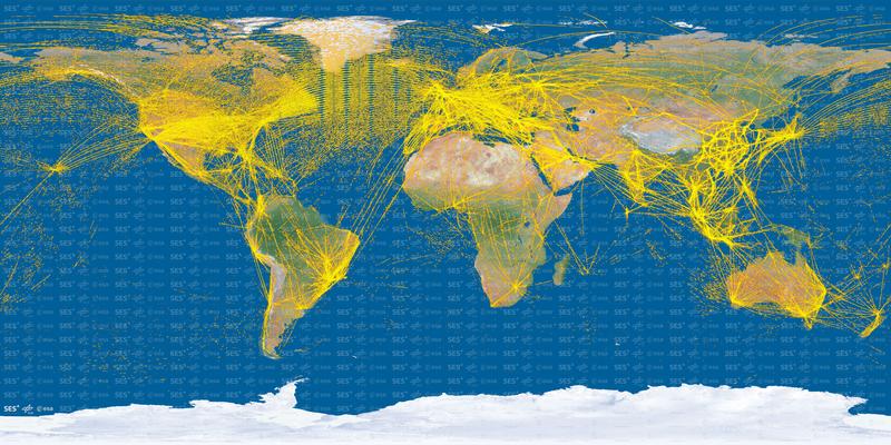 Illustration for article titled Este es el aspecto que tienen 15.000 aviones vistos desde el espacio