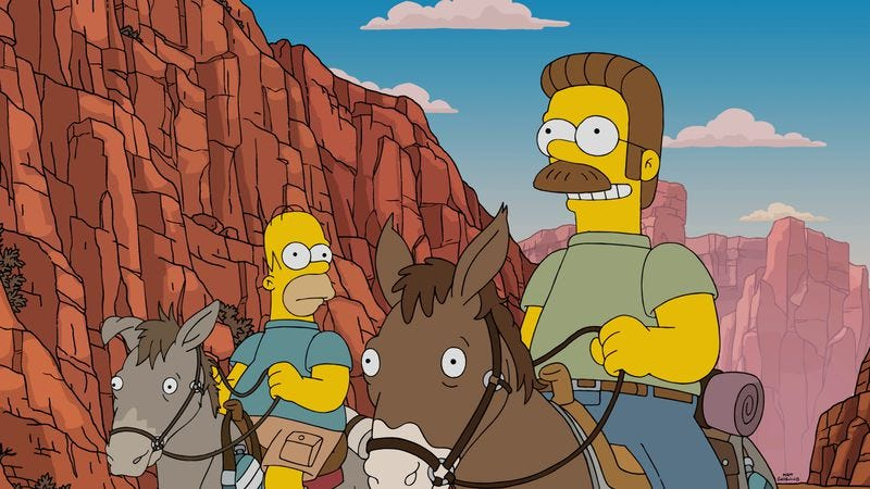 Illustration for article titled The Simpsons annoy the Flanders on a shaky trip to the Grand Canyon