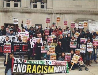 """Palestine contingent at """"Weekend of Resistance,"""" St. Louis, 2014.Arabs for Black Power"""