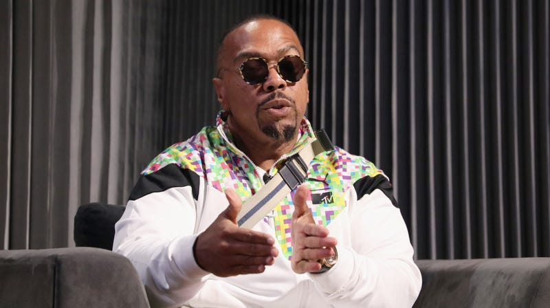 Timbaland speaks onstage during the OTHERtone panel at SOMETHING IN THE WATER - Day 1 on April 26, 2019 in Virginia Beach City.