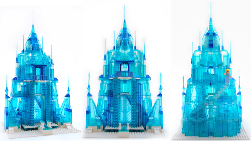 """Illustration for article titled Coolest dad ever creates Elsa's ice castle from """"Frozen"""" in Lego"""