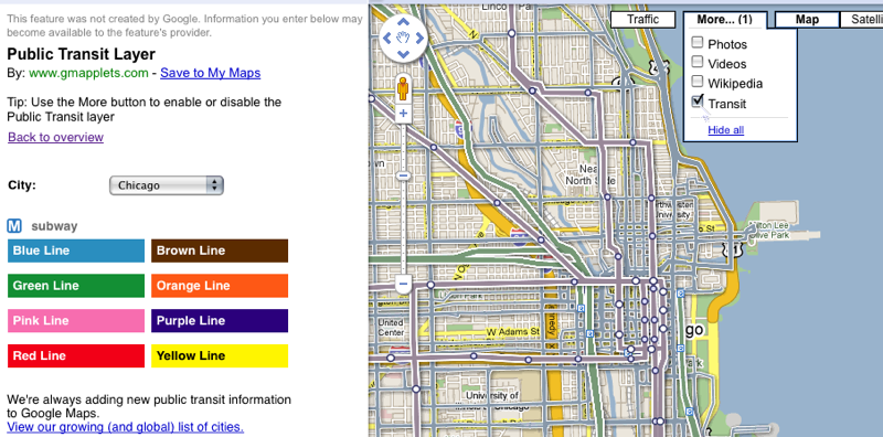 Google Maps Adds Transit Layer For Public Transportation - Chicago brown line map