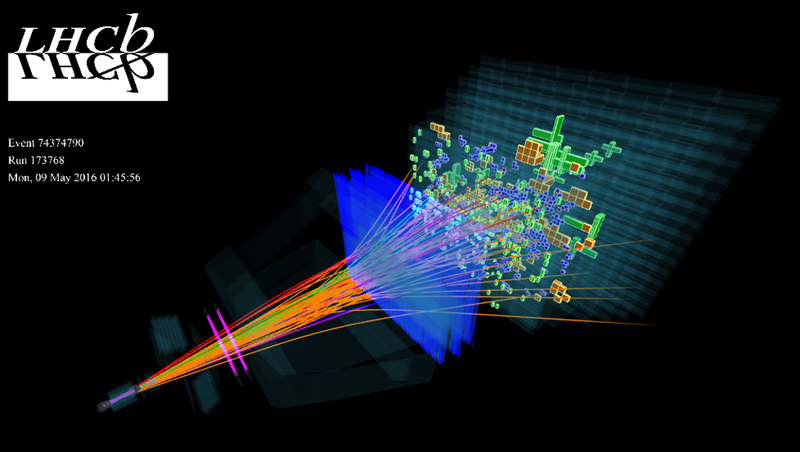 A computer reconstruction of the stuff LHCb detects (Image: CERN)