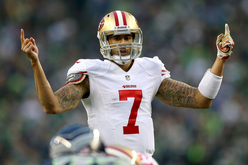 19eb4f0986b Quarterback Colin Kaepernick No. 7 of the San Francisco 49ers in the first  half against
