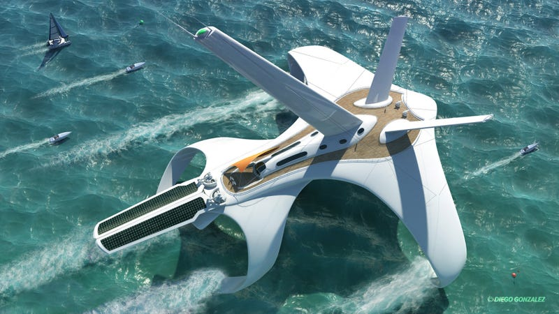 Illustration for article titled I want to go around the world in this awesome hydrofoil clipper