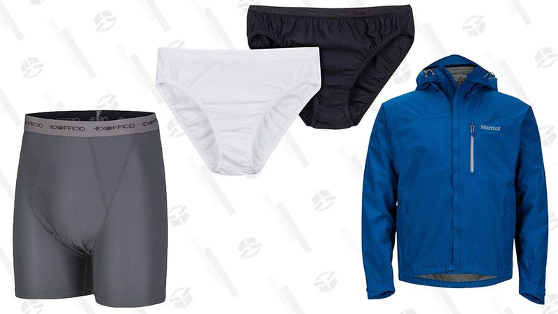 ExOfficio Men's Give-N-Go Boxer Brief 2-Pack | $24 | AmazonExOfficio Women's Give-N-Go Bikini Brief 2-Pack | $17 | AmazonMarmot Men's Precip Raincoat | $70 | Amazon | Women's version and more colors available at REI for same priceMarmot Men's Minimalist Raincoat | $113 | Amazon