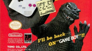 Illustration for article titled Poor Godzilla, a Game Boy is Too Tiny For His Giant Fingers