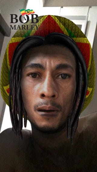 Snapchat Bob Marley filter that employs blackface    @alplicable via Twitter