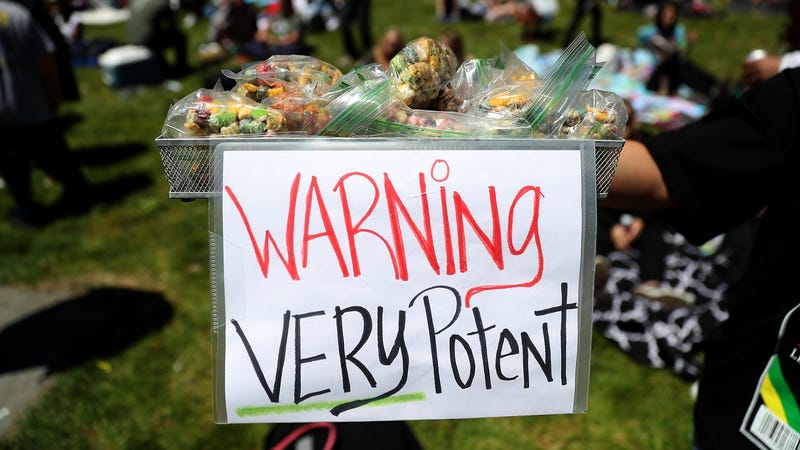A basket of cannabis-infused edibles on display during a 420 Day celebration in San Francisco last year