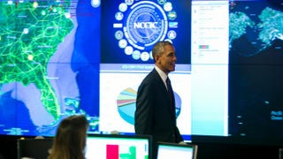 President Barack Obama delivers remarks at the National Cybersecurity and Communications Integration Center Jan. 13, 2015, in Arlington, Va. Pool/Getty Images