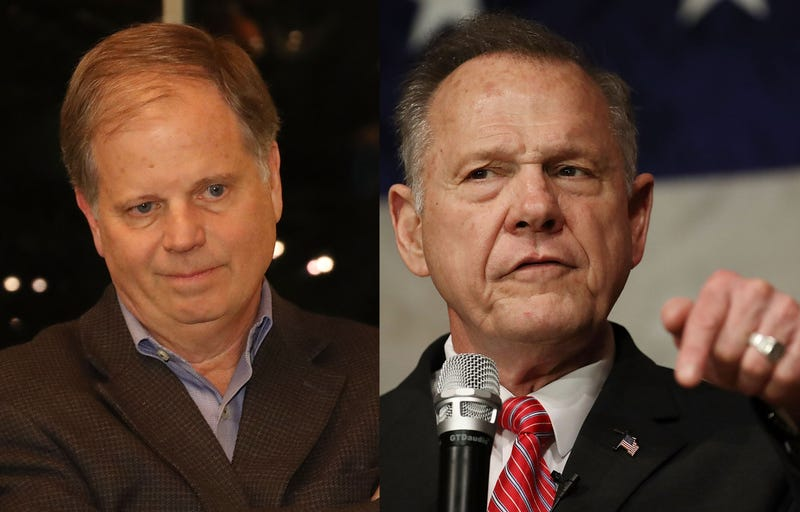 Democratic Alabama senatorial candidate Doug Jones; Republican Alabama senatorial candidate Roy Moore (Joe Readle/Getty Images)