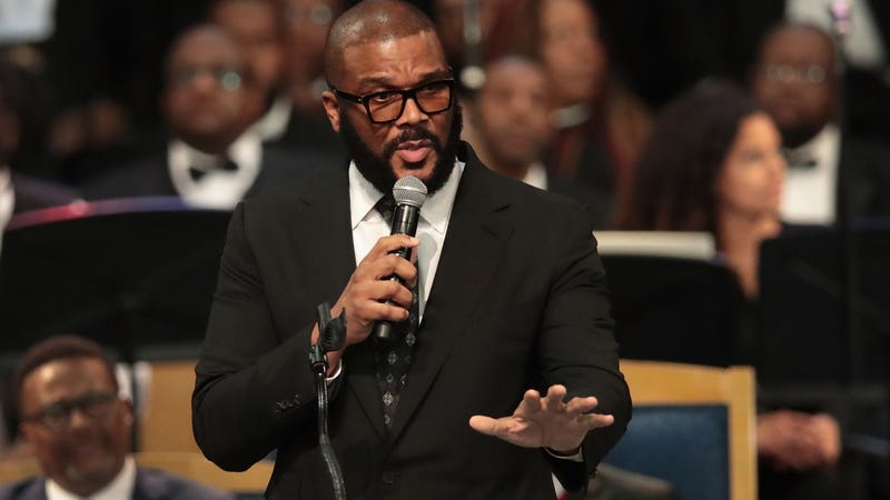 Tyler Perry speaks at the funeral for Aretha Franklin at the Greater Grace Temple on August 31, 2018 in Detroit, Michigan