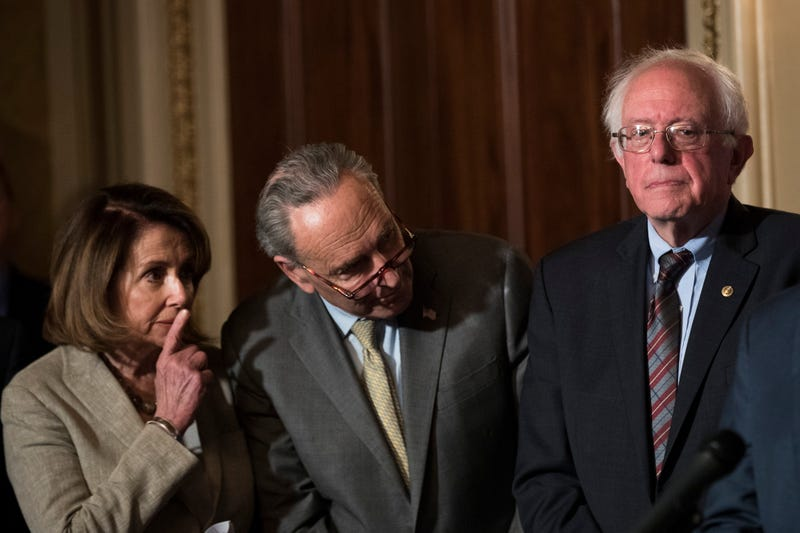 House Minority Leader Nancy Pelosi (D-Calif.), Senate Minority Leader Chuck Schumer (D-N.Y.), and Sen. Bernie Sanders (I-Vt.) on Capitol Hill on May 25, 2017 (Drew Angerer/Getty Images)