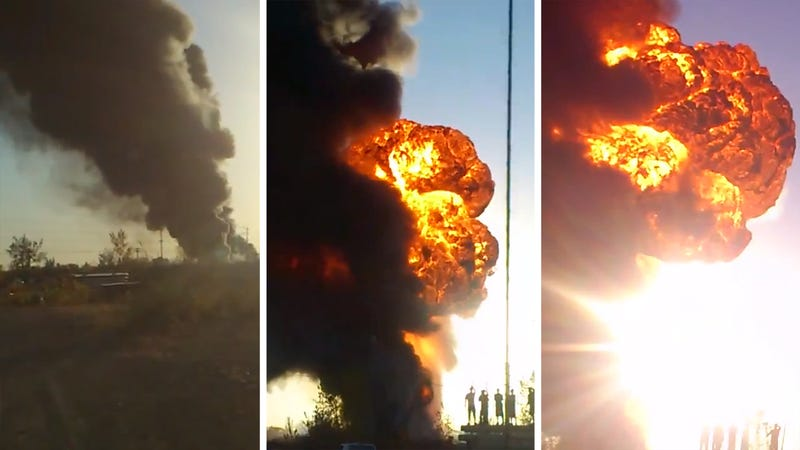 Illustration for article titled This Crazy Explosion Is What Happens When A Factory Full Of Race Fuel Catches On Fire