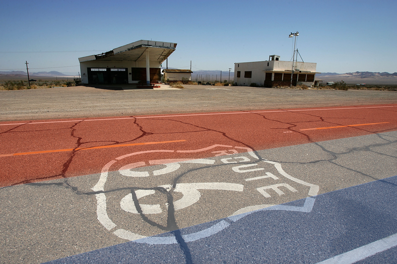 Route 66 with a little bit of artificial patriotism added to its color scheme. Photo credit: David McNew/Getty Images
