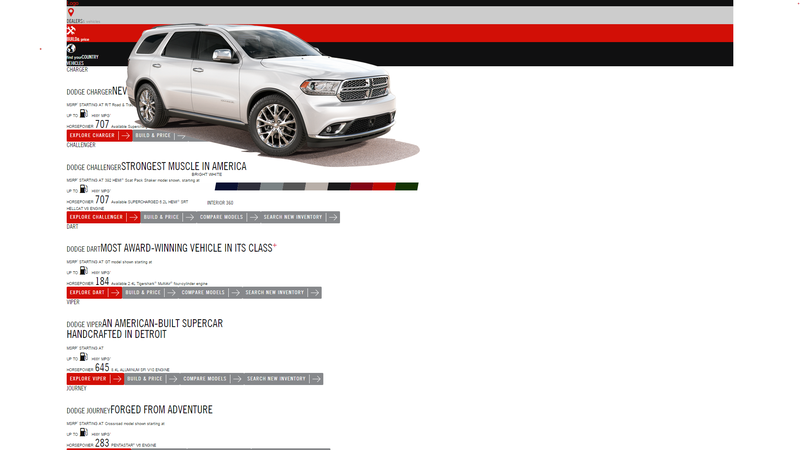 Illustration for article titled The Durango configurator appears to be broken.