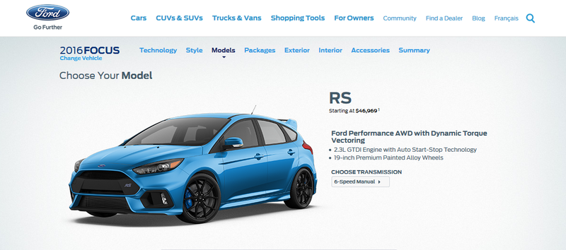 Illustration for article titled Focus RS configurator live for Canucks