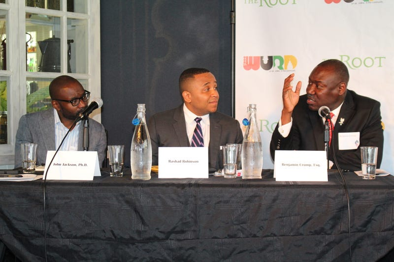 "John Jackson Jr.; Rashad Robinson, executive director, ColorOfChange.org; and Benjamin Crump during the ""Our Power, Our Promise"" panel discussion hosted by The Root and WURD in Philadelphia on July 27, 2016WURD Radio LLC"