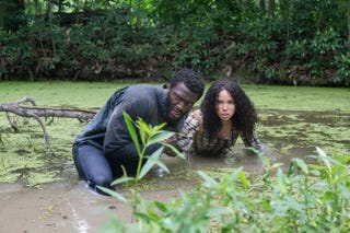 Aldis Hodge as Noah and Jurnee Smollett-Bell as Rosalee in WGN America's UndergroundWGN America
