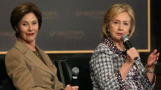 Former first lady Laura Bush and former Secretary of State Hillary Clinton participate in an event to honor the women of Afghanistan at Georgetown University in Washington, D.C., on Nov. 15, 2013.Mark Wilson/Getty Images