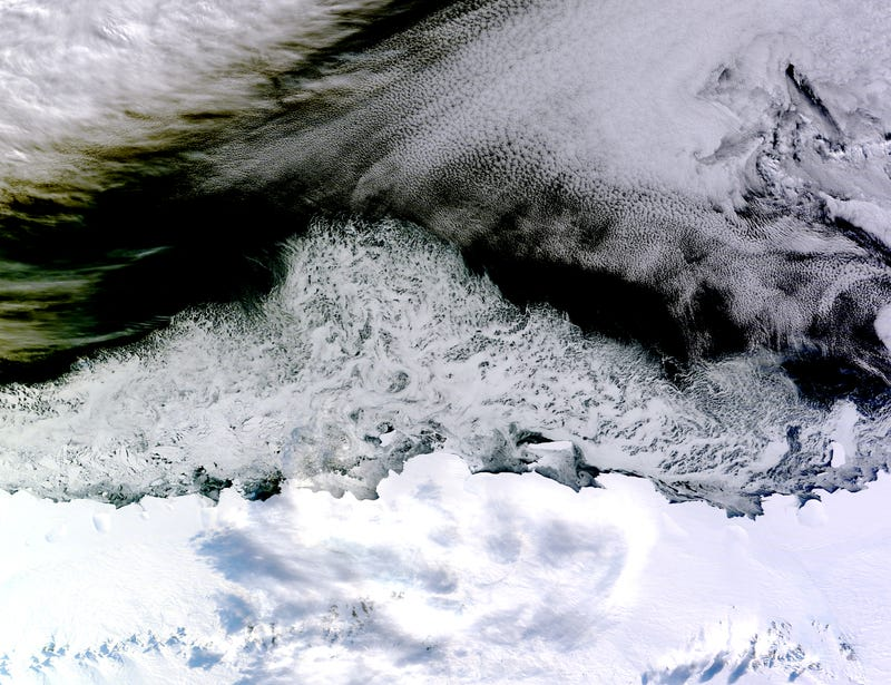 Illustration for article titled From Space, Swirls Of Sea Ice Are Seen Drifting Off The Antarctic Coast