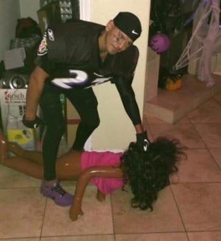 Costume portraying the Ray Rice domestic violence incidentReddit
