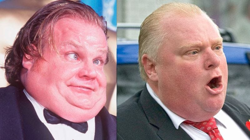 Illustration for article titled Watch the excellent Mayor Rob Ford/Chris Farley mashup we all deserve