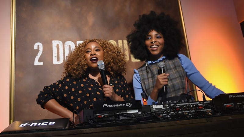 Phoebe Robinson (L) and Jessica Williams (R) host the 2 Dope Queens party at the Sundance Film Festival