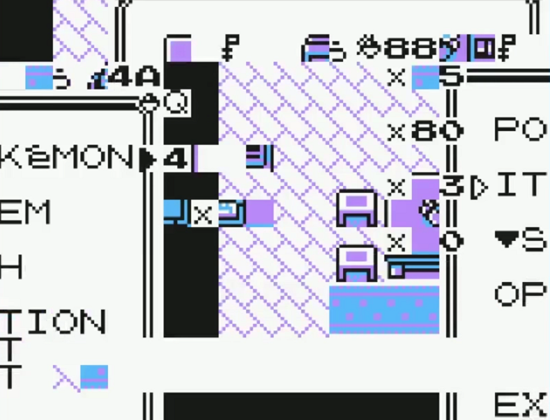 This is what Pokemon Yellow looks like when executing a glitch that automatically takes the player to the end of the game.