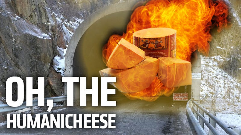 Illustration for article titled Truckload of Flaming Goat Cheese Closes Tunnel In The Most Delicious Disaster Possible