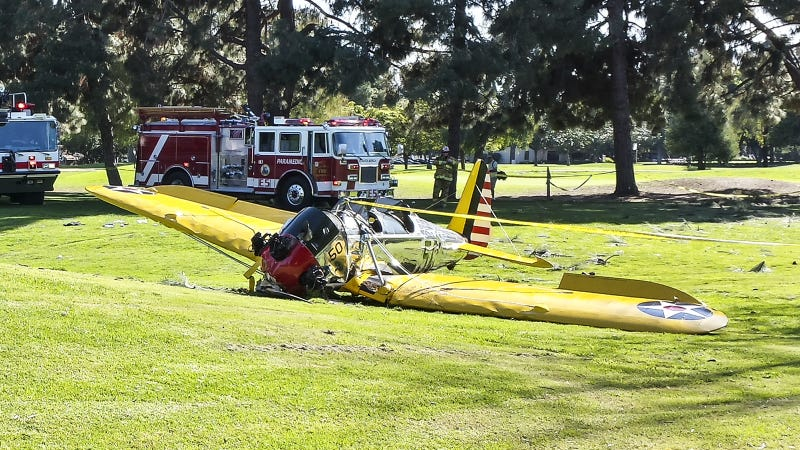 Harrison Ford's 2015 plane crash. Image via Getty.