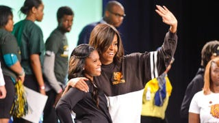 First lady Michelle Obama attends the citywide College Signing Day with Get Schooled and Detroit College Access Network, part of the first lady's Reach Higher initiative, in Detroit on May 1, 2015.Timothy Hiatt/Getty Images for Get Schooled