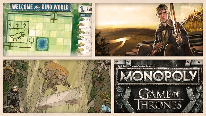 Clockwise from left: Welcome to Dino World, Lord of the Rings: The Card Game, Game of Thrones Monopoly, and The Boldest.