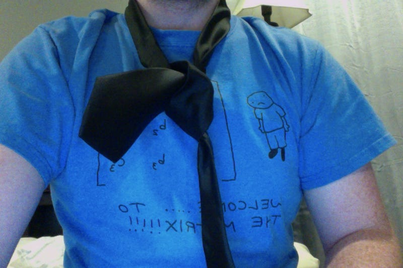 Illustration for article titled I'm learning how to tie a tie. Here's what I've got so far.