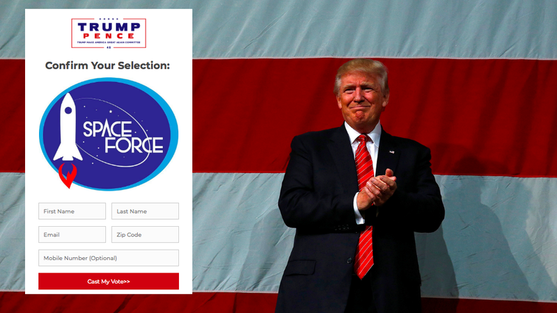 Illustration for article titled Trump Wants You to Choose a Space Force Logo... for the Merch He'll Sell You
