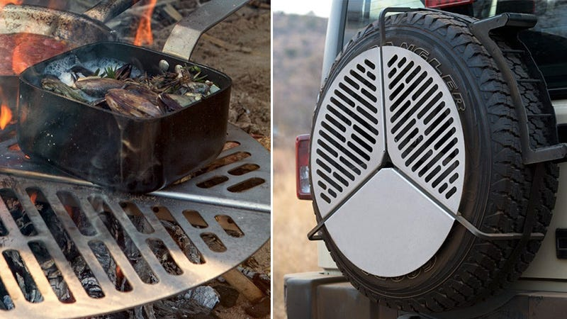 Illustration for article titled A Campfire Grill That Hugs Your Spare Tire For Easy Storage