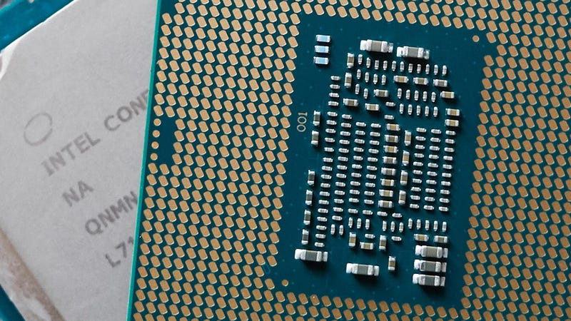 Close up of a Coffee Lake desktop CPU—also from the 8th generation of Intel processors.