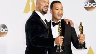 "Common and John Legend pose for pictures after winning the Oscar for Best Original Song for ""Glory"" from the movie Selma Feb. 22, 2015, in Hollywood, Calif.Jason Merritt/Getty Images"