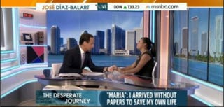 "Jose Diaz-Balart, an MSNBC and Telemundo host shown with an undocumented teen identified only as Maria, will officially become a rotating anchor on the Saturday edition of ""NBC Nightly News"" and will be a regular contributor to ""Meet the Press.""MSNBC Screenshot"