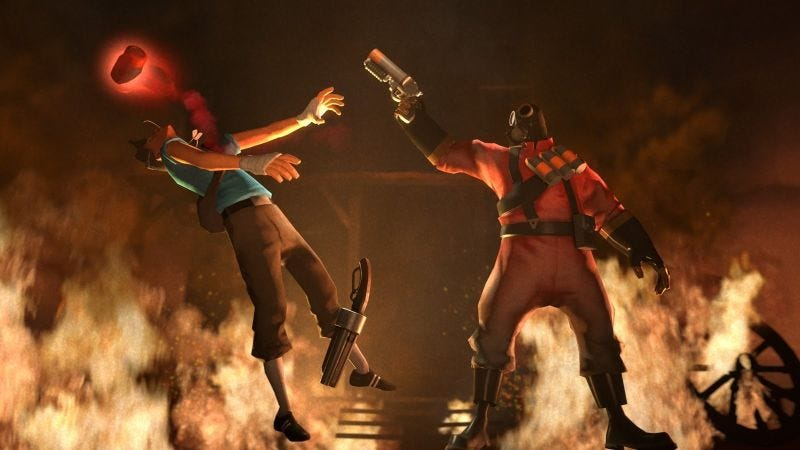 Illustration for article titled Team Fortress 2 Game Fills With Streamers, Descends Into Chaos