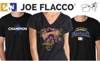 Illustration for article titled Joe Flacco's Official Shirts Are Just As Boring As You'd Expect