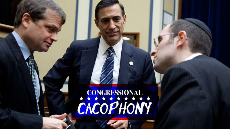 Rep. Mike Quigley, Rep. Darrell Issa and Rabbi Meir Soloveichik chatting about their favorite IUD brands. Image via AP.