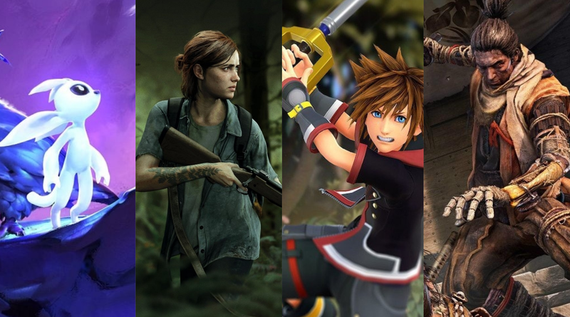 De izquierda a derecha: Ori and the Will of the Wisps, The Last of Us Part II, Kingdom Hearts 3 y Sekiro: Shadows die Twice.