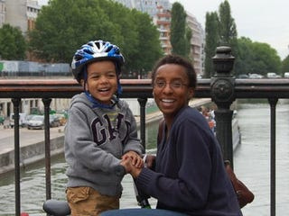 Claudine Gay with her son