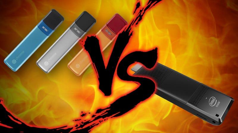 Illustration for article titled PC Stick Showdown: Intel Compute Stick vs Google Chromebit