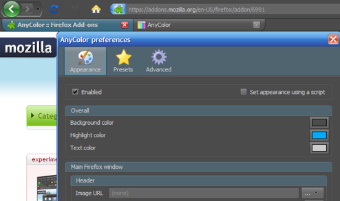 AnyColor Tweaks the Default Colors of Firefox's Chrome