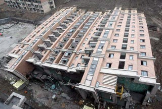 Entire New 13-Story Building Tips Over in Shanghai