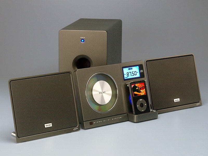 Illustration for article titled Teac's Wall-Mounted iPod Dock with CD Player Has Sub, NXT Speakers